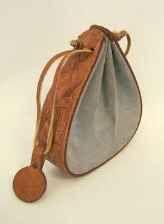 Vintage 1950s Dale Evans Original Handbag Very RARE Tooled Leather Suede Blue
