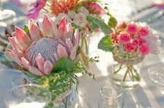 Wedding or not, what a beautiful way to display King Protea's. Pastel Wedding Theme, Wedding Themes, Floral Wedding, Our Wedding, Wedding Flowers, Wedding Decorations, Wedding Ideas, Wedding Stuff, Protea Centerpiece