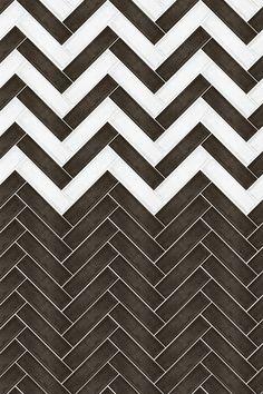 Create a striking Black & White chevron pattern with the Vintage range of ceramic wall tiles - perfect for a unique splashback! Metro Tiles, Vintage Tile, Ceramic Wall Tiles, Splashback, Rustic Walls, Kitchen Tiles, Rustic Charm, Tile Patterns, Chevron