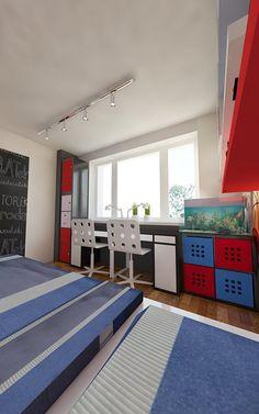 Pokój dwóch chłopców | AWX2 ARCHITEKCI Toddler Bed, Furniture, Home Decor, Child Bed, Decoration Home, Room Decor, Home Furnishings, Home Interior Design, Home Decoration
