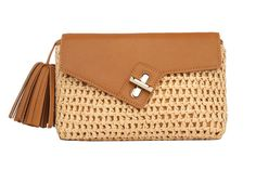 Mini MILCK Clutch  Straw in tan.  Small, but not too tiny, this fulfills all the basic clutch duties. Meanwhile, the chain strap  gives it the versatility to sling crossbody and worn with a bit of edge.