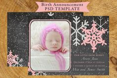 Birth Announcement template photographer INSTANT DOWNLOAD on Etsy, $6.00