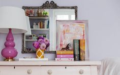 Love this purple and orange accent combo, so springy.