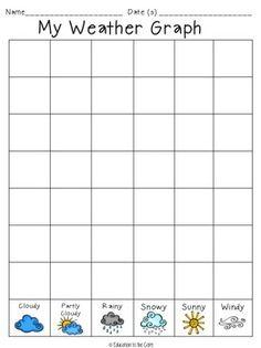 7 Best Images of Kindergarten Weather Graph Printable - Preschool Weather Chart Graph, Weather Graphs Free Printables and Free Printable Graph Worksheets for Kids First Grade Science, Kindergarten Science, Preschool Math, Preschool Worksheets, Science Classroom, Teaching Science, Kindergarten Calendar Math, Preschool Weather Chart, Weather Activities Preschool