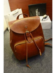 Vintage School Style PU Leather Double Shoulder Bag