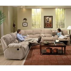 Southern Motion Continental Reclining Sectional - Royal Furniture - Reclining Sectional Sofa with cup holders $2100