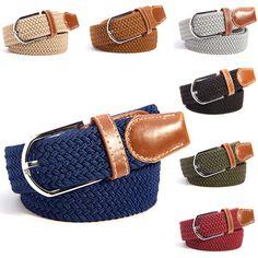 Unisex Canvas Woven Leather Pin Buckle Elastic Waist Belt Men Women Waistband New
