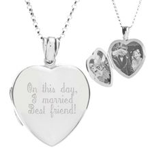 Stunning sterling silver locket--in heart shape--can be engraved both front and back with heart felt messages or monograms.