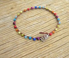 Gemstone crocheted anklet in colors of the rainbow boho by Sydnejo, $23.00