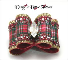 Red Tartan Plaid Crystal Bling Full Size Crystal Show Dog Bow by Doggie Bow Ties!