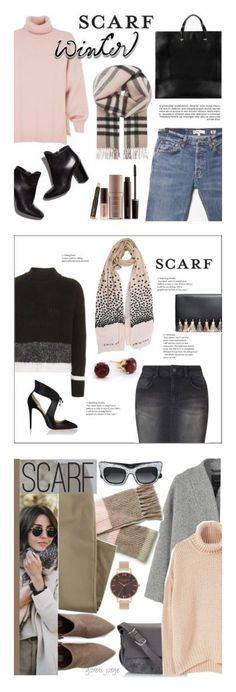 """Winners for Winter Scarf Style"" by polyvore ❤ liked on Polyvore featuring RE/DONE, TIBI, Loeffler Randall, Clare V., Burberry, Laura Mercier, scarf, Topshop, Miss Selfridge and Christian Louboutin"