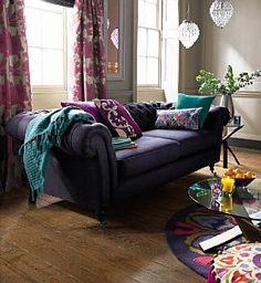 Rich purple looks great against wooden or laminate floors - and the strong patterns are great