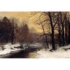 A Winter River Landscape by Anders Andersen-Lundby Landscapes And Scenery Art Print