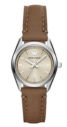 33fd24a8f968 Buy Emporio Armani Women s Tazio Stainless Steel Round Case Leather Strap  Watch