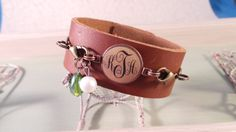 Interchangeable leather cuff bracelet with by ahugaroundtheneck1, $25.00