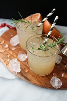 Fresh-squeezed grapefruit juice mixed with gin and a rosemary simple syrup