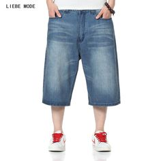 2017 Brand Fashion Casual Baggy Jeans Shorts Teenage Big Men Plus Size Hip Hop Cotton Shorts Jeans Summer Vinage Bermuda 40 46 #Affiliate