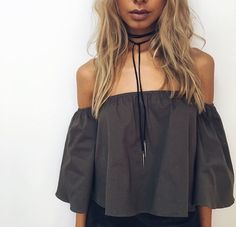 off the shoulder top and bolo tie choker