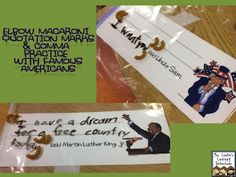 **cute idea to use elbow macaroni and quotes by famous people to practice quotation marks** {Free} 20 cards for quotation mark and comma practice using elbow macaroni (Famous Americans/Historical Figures used on the cards! Grammar And Punctuation, Teaching Grammar, Teaching Language Arts, Classroom Language, Teaching Writing, Teaching Ideas, 2nd Grade Ela, 2nd Grade Teacher, Second Grade
