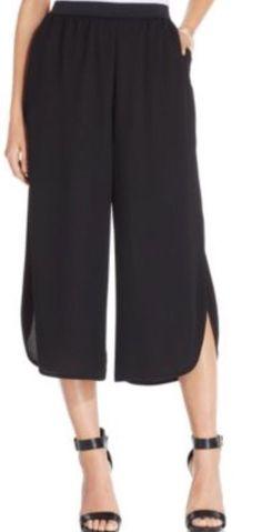 STYLE & CO WIDE LEG SLIT HEM GAUCHO PANTS - BLACK - SIZE EXTRA LARGE (XL) #StyleCo #GauchosCroppedCapri