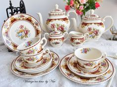 Tea set vintage floral tea set Marlborough by VintageTeaTimeByNiw