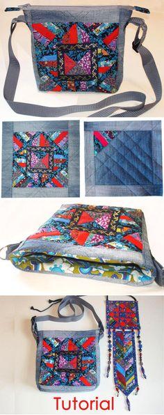 We sew a bag of patchwork and old jeans. DIY tutorial with pictures. Шьем сумку  из лоскутков и старых джинсов. http://www.handmadiya.com/2015/09/bag-patchwork-denim.html