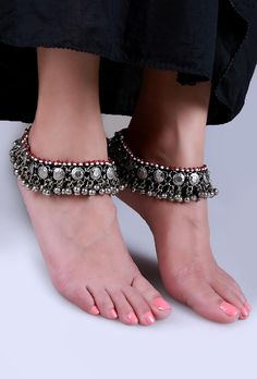 INR 2520 Black patti Anklet with ghungroo white & red bead #Germansilver #Handcrafted  #AfghanJewelry, Afghanistan