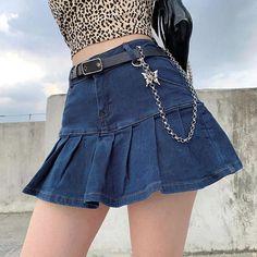 Pleated Mini Skirt, Denim Mini Skirt, Ruffle Skirt, Ruffles, Jean Mini Skirts, Chiffon Skirt, Textiles Y Moda, Streetwear, Denim Fashion