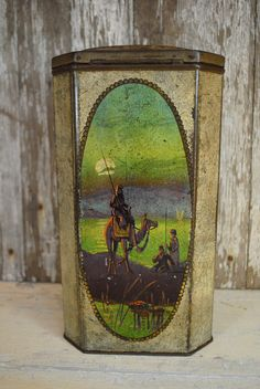 Egyptian Sahara Antique tin LARGE English TEA Evocative of a trip down the Nile a rare antique tin gold silver purple green orange red by CaitiesFleaCircus on Etsy