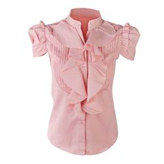 FUNOC Womens Ladies Short Sleeve Business OL Ruffle Stand Collar Shirt Blouse Top (S, Pink) FUNOC,http://www.amazon.com/dp/B00F2B4U7Q/ref=cm_sw_r_pi_dp_C8gztb1431MVNYA8