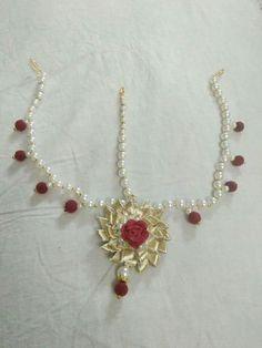 Flowers and beads Gota Patti Jewellery, Thread Jewellery, Fabric Jewelry, Wedding Accessories, Wedding Jewelry, Jewelry Accessories, Mehndi Makeup, Jewelry Crafts, Handmade Jewelry