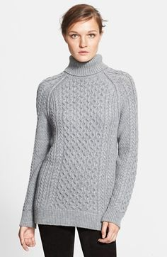 "Free shipping and returns on Vince Cable Knit Turtleneck Sweater at Nordstrom.com. <p><B STYLE=""COLOR:#990000"">Pre-order this style today! Add to Shopping Bag to view approximate ship date. You'll be charged only when your item ships.</b></p><br>Alpaca-softened yarns form a classic cable-knit turtleneck sweater crafted with raglan sleeves and a long, relaxed silhouette."