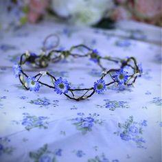 ...venček víly bosej... (modré margarétky)) by magaela - SAShE.sk - Handmade Čelenky