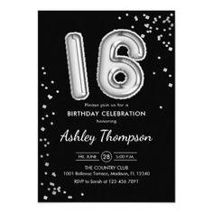 Shop Birthday - Silver Balloons Black Invitation created by NineToFive_Factory. Mom Birthday Crafts, 18th Birthday Party, Birthday Party Invitations, Girl Birthday, Number Balloons, Birthday Balloons, Paper Design, Girl Gifts