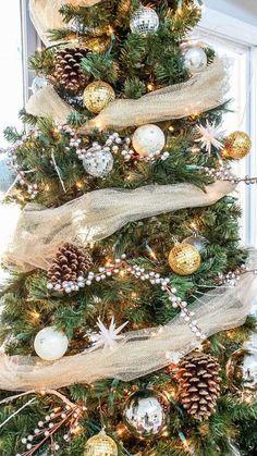 Idee per decorare un albero di Natale dorato - Decorazioni natalizie dorate