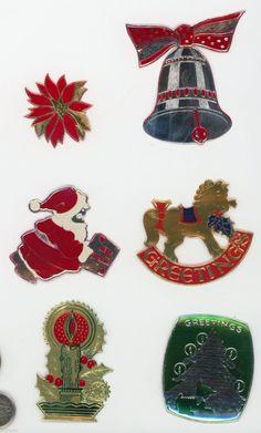 6 Vintage Die Cut Foil Gummed Stickers Christmas Seals Graphics Santa Claus   eBay