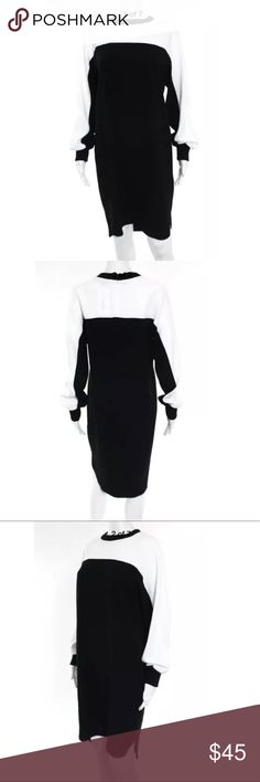 DKNY Black White Wool  Crew Neck Tunic Dress S NWT DKNY Black White Wool Long Sleeve Crew Neck Tunic Dress new with tag, size Small. Please check photo for measurements. Gorgeous dress! Dkny Dresses