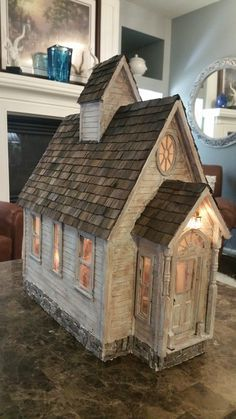 Greggs Miniature Imaginations: Old Country Church Saltbox Houses, Putz Houses, Fairy Houses, Clay Houses, Paper Houses, Miniature Rooms, Miniature Houses, Rustic Crafts, Wood Crafts