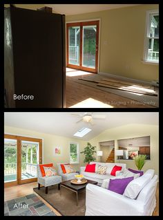 Before and After - Living Room 2 Real Estate Photography, Beautiful Space, Staging, Windows, Living Room, Places, Inspiration, Home Decor, Role Play