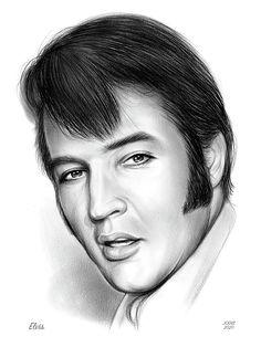 Drawing - Elvis 3 by Greg Joens , Graphite Drawings, Pencil Drawings, Sketches Of People, Celebrity Drawings, New Kids, American Singers, Elvis Presley, Rock And Roll, Fan Art