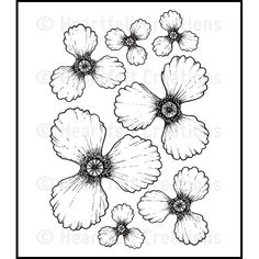 Heartfelt Creations Stamps: Blazing Poppy Petals Cling Stamp Set - £9.95