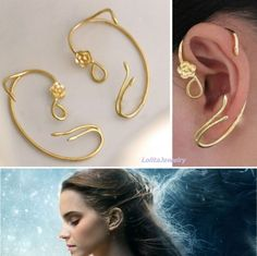 Disney BEAUTY and the BEAST BELLE Belle's ROSE EARRINGs Ear Cuff Cosplay NIB