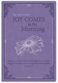 A beautiful volume to hold and behold, Joy Comes in the Morning is the perfect quiet time companion for every woman. The lavender faux leather binding is embellished with deeply debossed elements, including Scripture from Psalm 5:3,11 and soft metallic screen-printed motifs. There is an attached ribbon page marker and a presentation page for gift-giving.