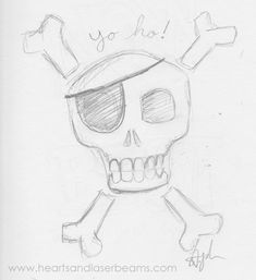 Drawing Ideas and Creativity Exercises with the Disney Classics - Pirates of the Caribbean skull sketch by Hearts and Laserbeams