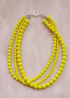 Chunky Yellow Necklace, Triple Strand Statement, Just Ducky.