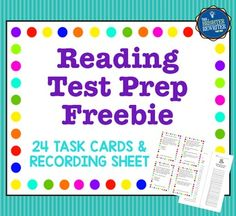 Reading Test Prep Task Cards will help your students practice their reading skills and prep for their state reading tests. This free set of 24 cards features 3 task cards each for author's purpose, cause and effect, character traits, compare and contrast, Test Taking Skills, Test Taking Strategies, Reading Strategies, Reading Skills, Reading Task Cards, Reading Test, Third Grade Reading, Free Reading, Authors Purpose