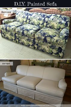 DIY Painted Sofa - before and after. Use latex paint and Delta Fabric Medium. Takes about 4 coats. Not a good solution for a couch or chair that gets a lot of daily use, but for those that don't, this is a great idea!