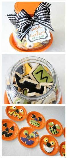 Jack-o-lantern cookies in a jar. The cutest idea for a Halloween gift!