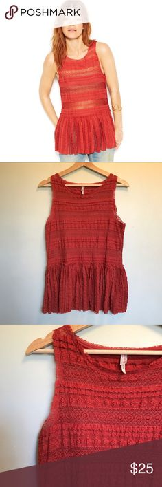 Free People Lace Tunic Burnt Orange. Excellent preloved condition. Sleeveless with a peplum waist. Super cute!! Free People Tops