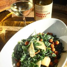 There's nothing like a glass of wine and a bite to eat after a long day. Treat yourself to a glass of Brooklyn Winery wine and one of our tasty dishes in the wine bar! We have a new Kale Salad